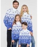 Одинаковые новогодние свитера САНТА В ПУТИ голубой