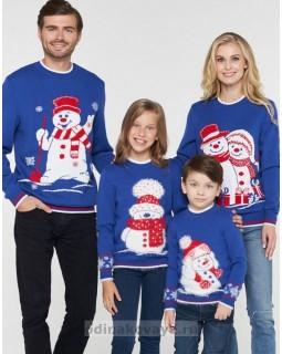 Комплект свитеров для всей семьи СНЕГОВИКИ
