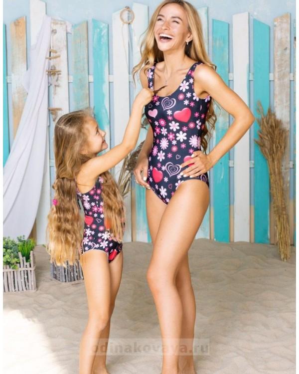 Одинаковые купальники для мамы и дочки Узоры