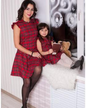 Комплект одинаковых платьев для мамы и дочки Шотландка М-250