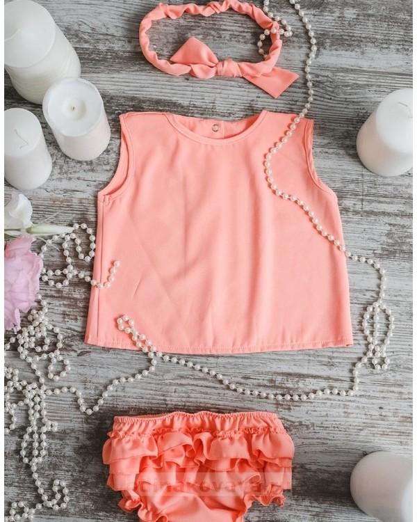 Комплект платьев Family Look для мамы и дочки Элегия М-244 персик однотонный