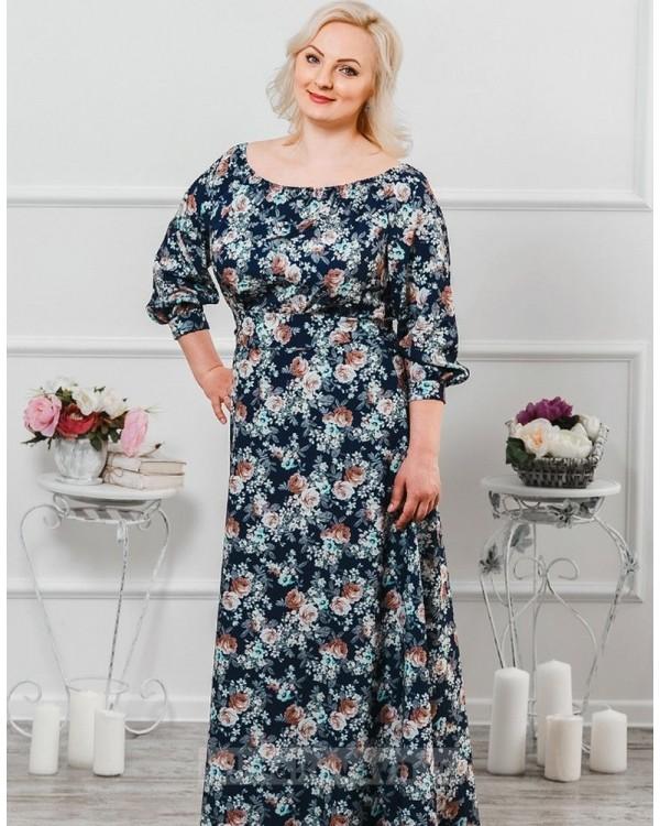 Длинное платье Элегия PLUS М-224 синий цветочный