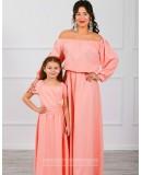 Комплект платьев Family Look для мамы и дочки Элегия М-244 персик