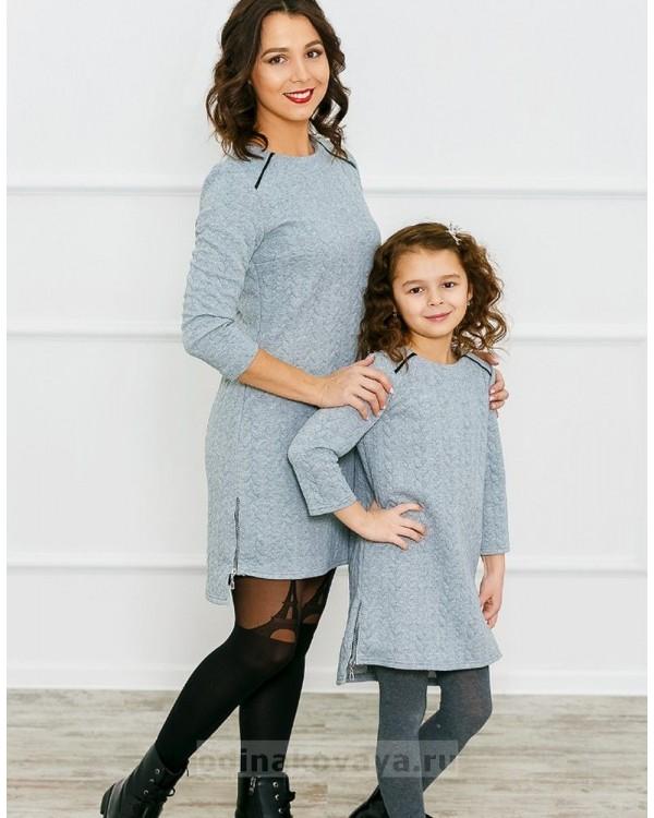 Комплект платьев-туник для мамы и дочки Косы М-274 Цвет::серый