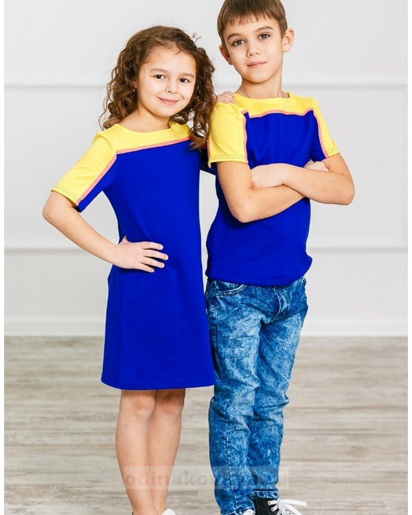 Комплект Family Look для мамы и сына Спорт М-275 цвет синий
