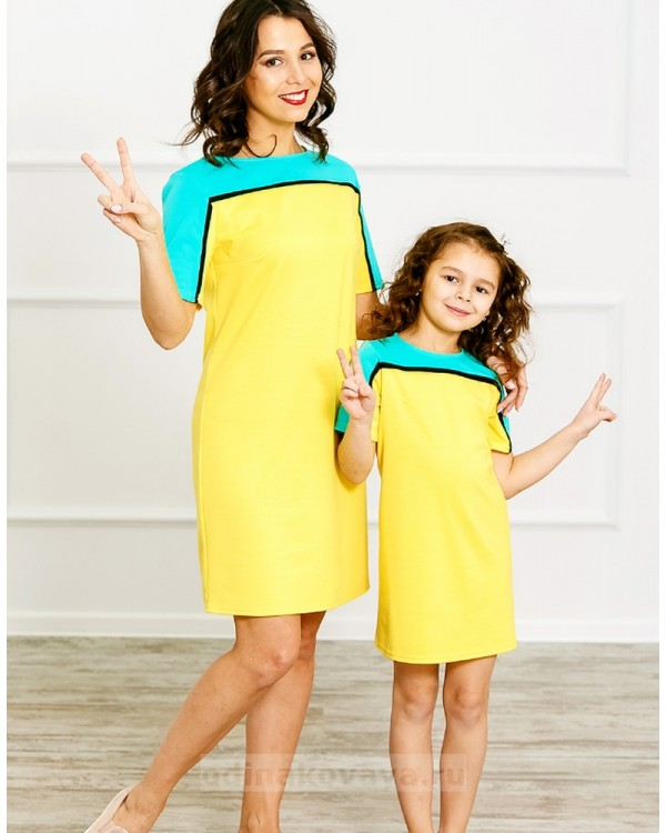 Комплект Family Look для мамы и дочки Спорт М-275 цвет желтый