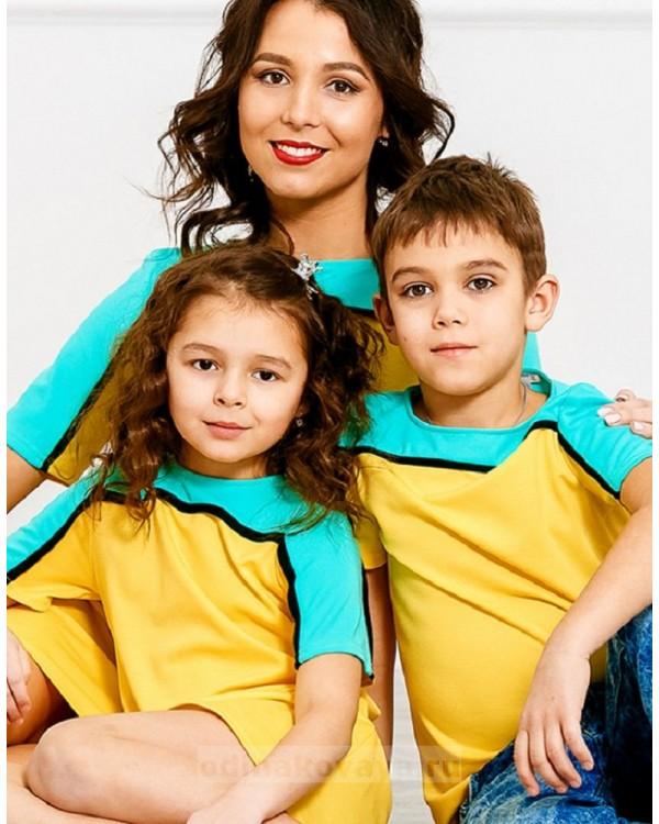 Комплект Family Look для мамы и сына Спорт М-275 цвет желтый