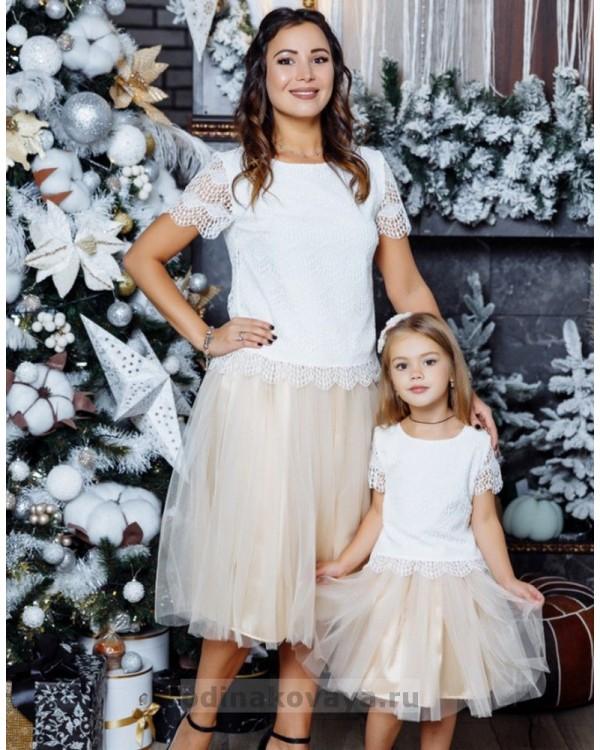 Комплект фатиновых юбочек для мамы и дочки Зефирки М-2024 цвет пудровый
