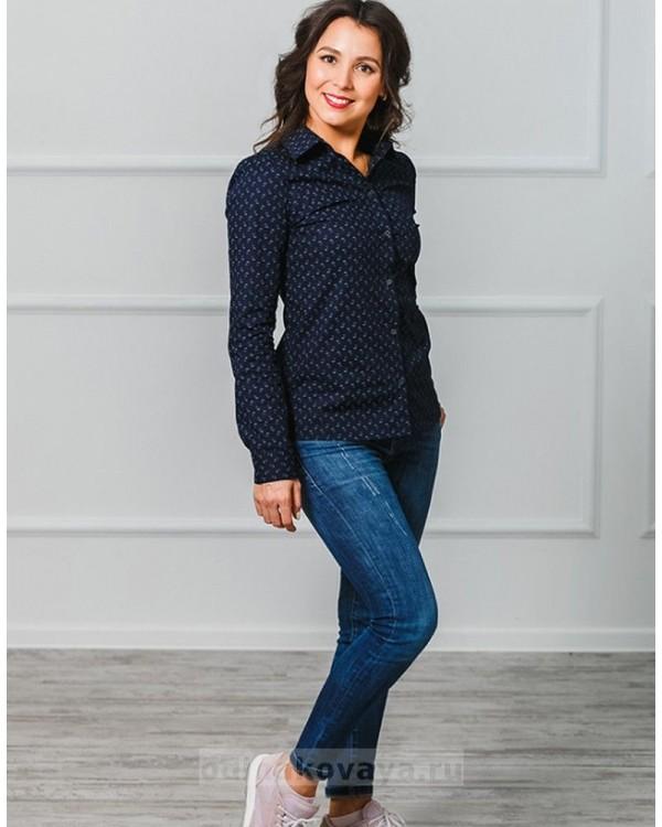 Комплект рубашек в стиле Family Look для мамы и дочки М-1001 цвет синий