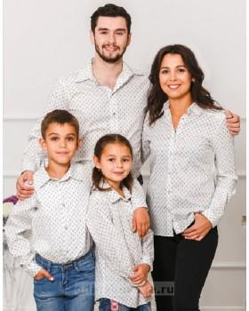 Комплект рубашек в стиле Family Look для мамы, папы, дочки и сына М-1001