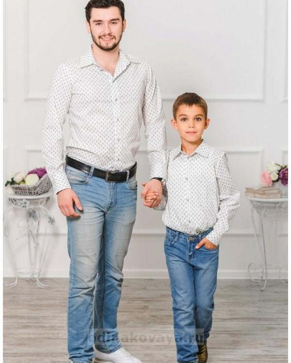 Комплект рубашек в стиле Family Look для папы и сына М-1001 цвет белый