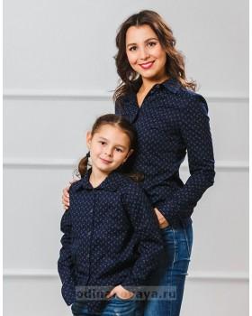 Комплект рубашек в стиле Family Look для мамы и дочки М-1001