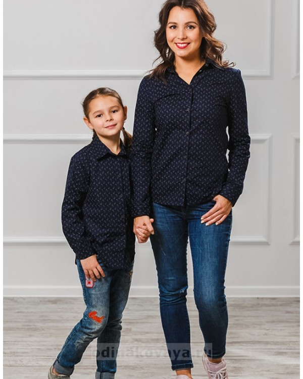Комплект рубашек в стиле Family Look для мамы, папы, дочки и сына М-1001 цвет синий