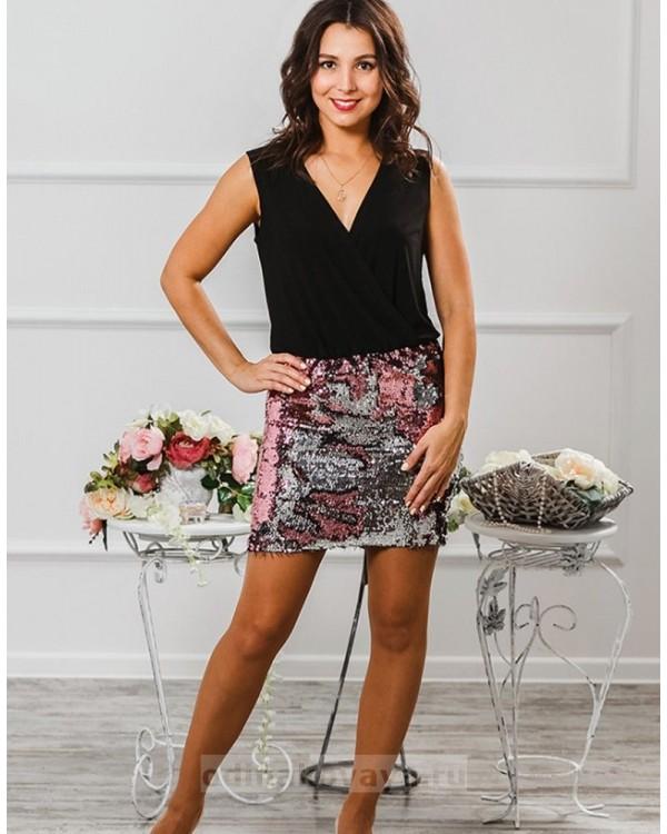 Коктейльное платье Бурлеск М-1015 цвет розовый