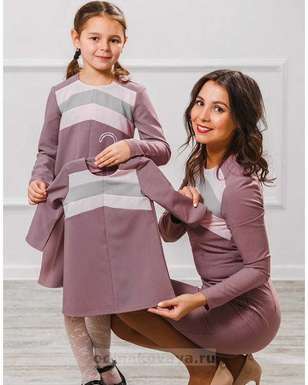 Комплект платьев для мамы и дочки Радуга М-2004 цвет пудровый
