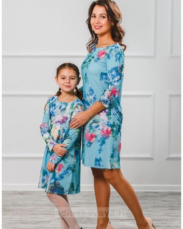 Комплект платье мама и дочка 3D М-2005 цвет голубой