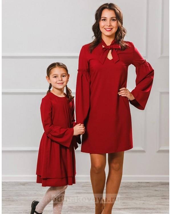Комплект платьев мама дочка Камилла М-2006 цвет бордовый