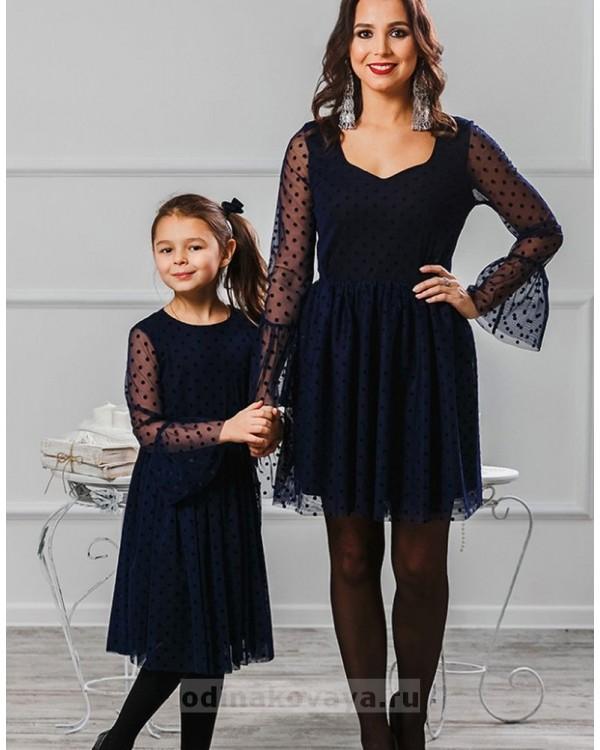 Комплект платьев для мамы и дочки Катрин М-2007 цвет синий
