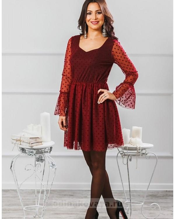 Платье Катрин М-2007 цвет бордовый