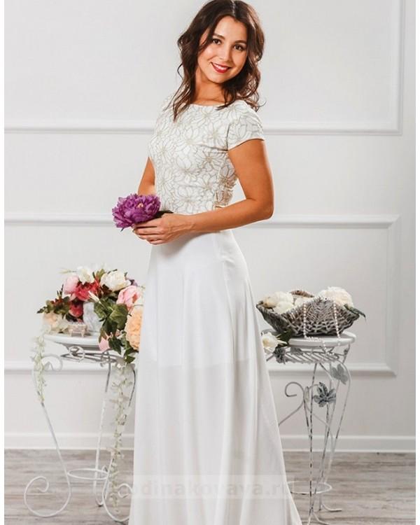 Вечернее платье в пол Эльза М-2010 цвет белый