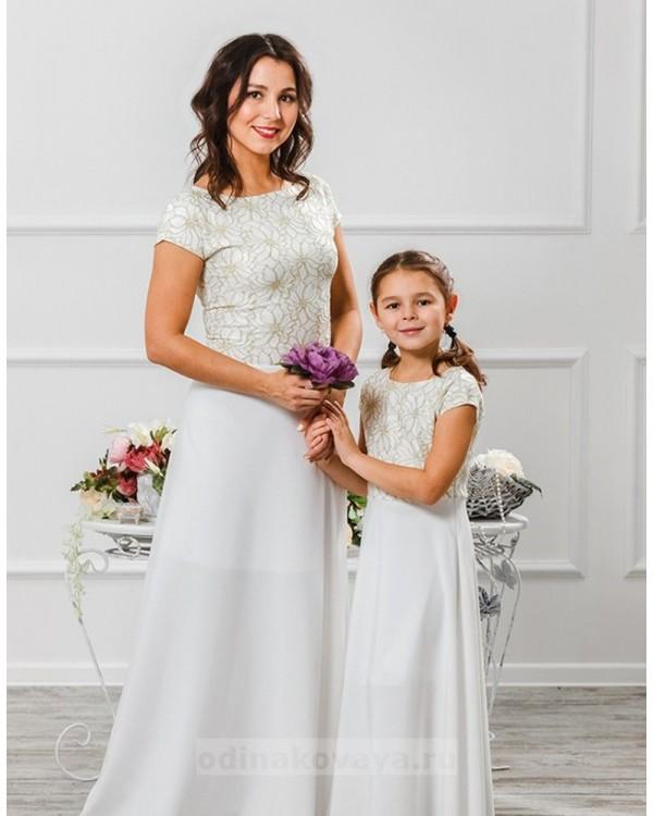 Комплект платьев для мамы и дочки Эльза М-2010 цвет белый