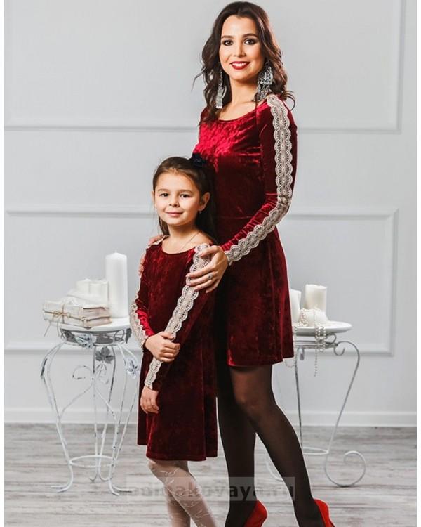 Комплект платьев для мамы и дочки Маркиза М-2012 цвет бордо