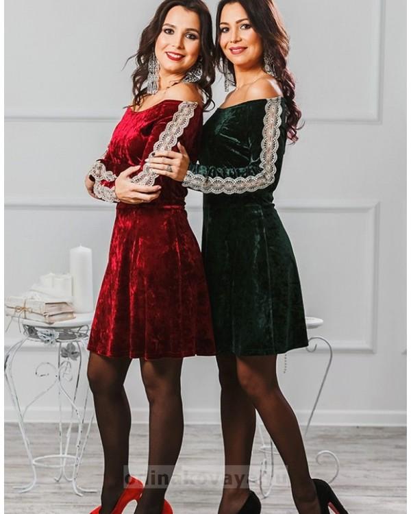 Бархатное платье Маркиза М-2012 цвет бордо