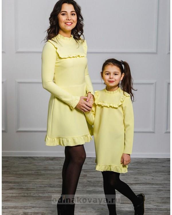 Платье Рюши М-2018 цвет желтый