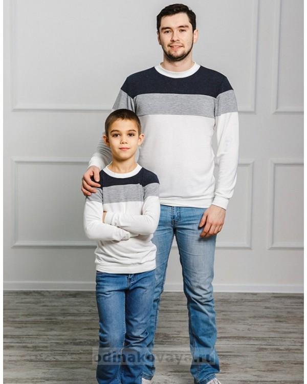 Комплект джемперов для папы и сына Трио М-2022 цвет белый
