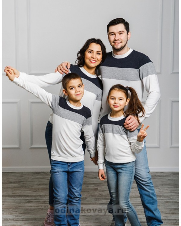 Комплект джемперов для мамы и сына Трио М-2022 цвет белый