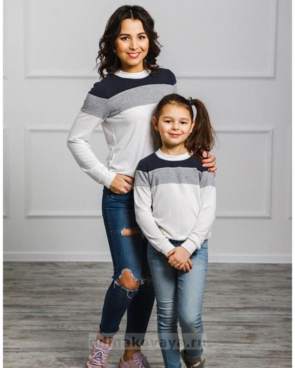 Комплект джемперов для мамы и дочки Трио М-2022 цвет белый