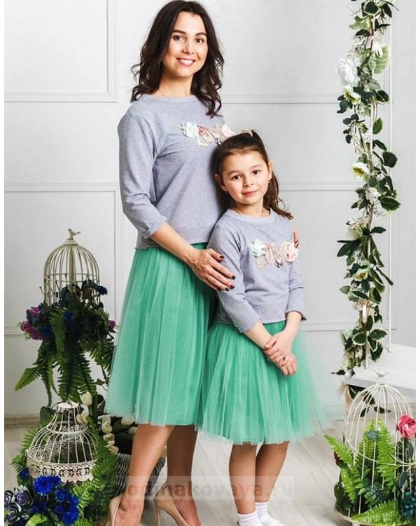 Комплект фатиновых юбочек для мамы и дочки Зефирки М-2024 цвет мята