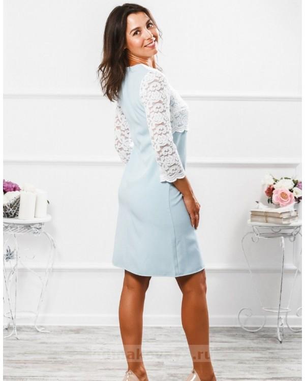 Платье с кружевной кокеткой Мелания М-292 цвет голубой