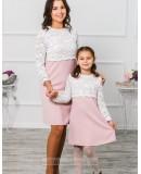 Комплект платьев для мамы и дочки Мелания М-292 цвет розовый