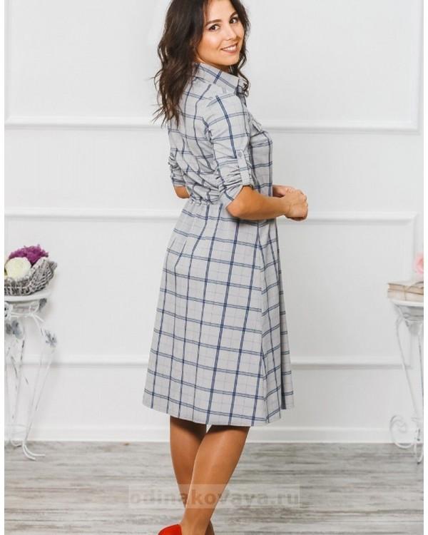 Платье в клетку Глория М-294 цвет серый
