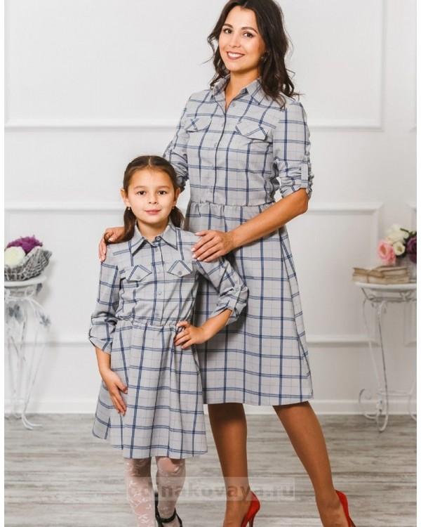 Платье рубашка для девочки Глория М-294 цвет серый
