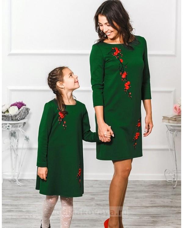 Комплект платьев для мамы и дочки Сакура М-297 цвет зеленый