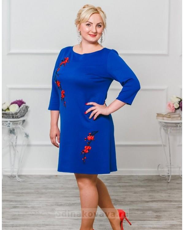 Трикотажное платье Сакура М-297 цвет синий