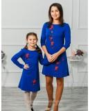 Комплект платьев для мамы и дочки Сакура М-297 синий