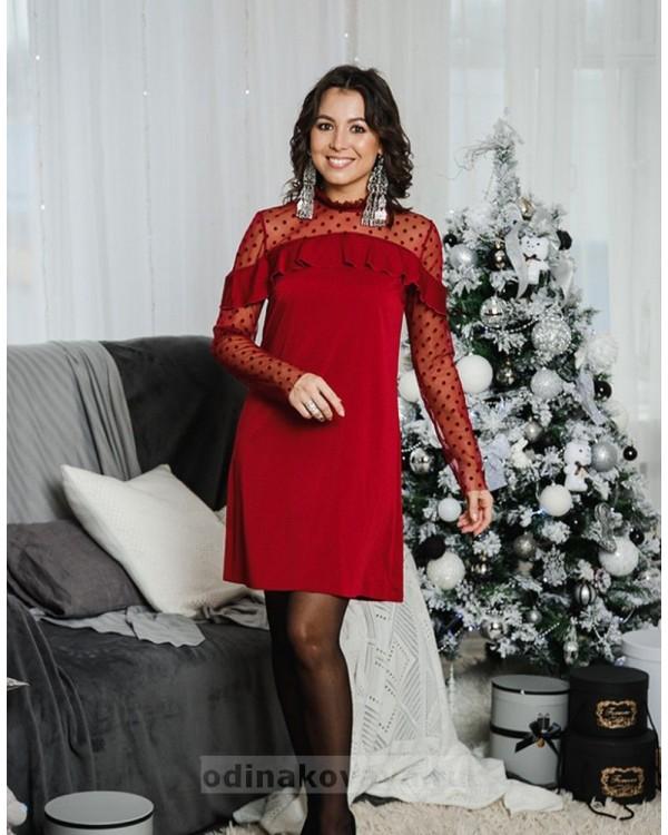 Комплект платьев Family Look для мамы и дочки Глюкоза М-2056 цвет бордовый
