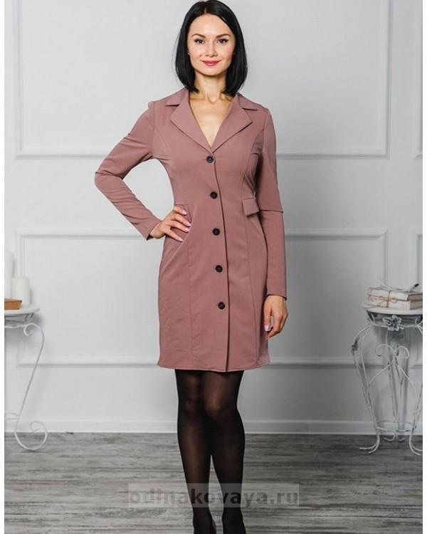 Платье-пиджак Фрак М-1040 цвет пудровый