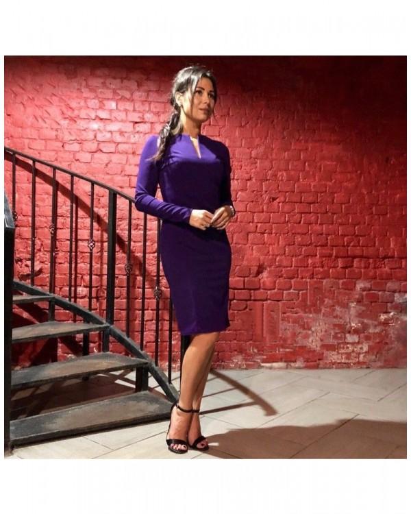 Трикотажное платье Офис М-1045 цвет фиолетовый