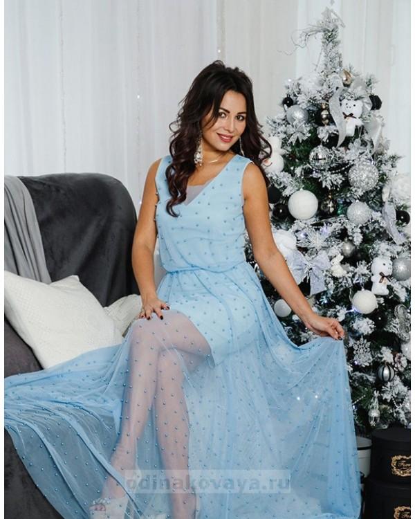 Вечернее платье в пол Жасмин М-1054 цвет голубой