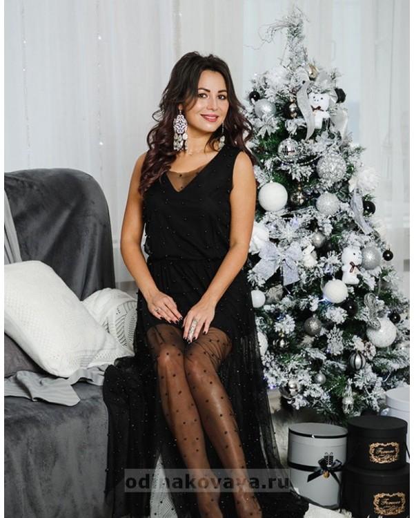 Вечернее платье в пол Жасмин М-1054 цвет черный