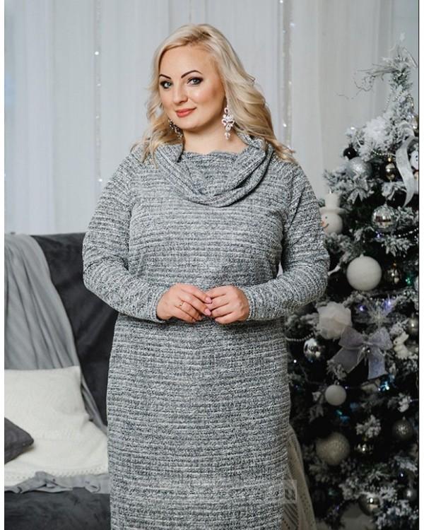 Трикотажное платье Хомут PLUS М-1059 цвет серый