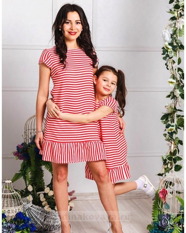 Комплект в стиле family look Полосочка М-2028 цвет красный
