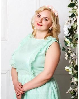 Хлопковое платье миди Ромашки PLUS М-2033