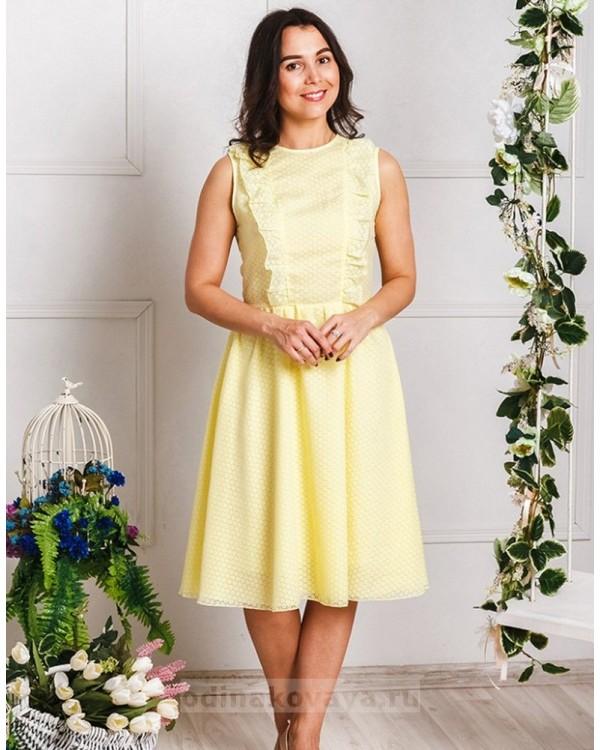 Хлопковое платье миди Ромашки PLUS М-2033 цвет желтый