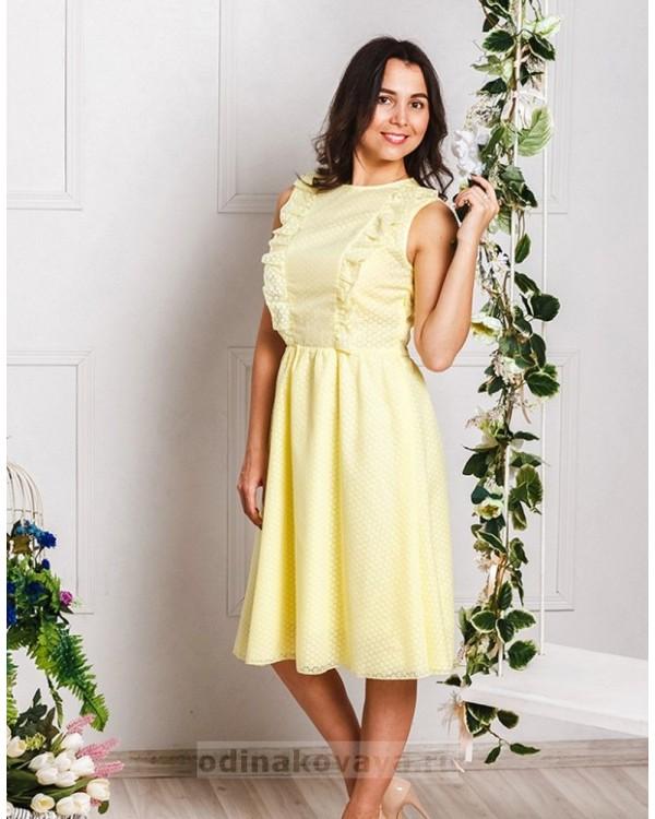 Хлопковое платье миди Ромашки М-2033 цвет желтый