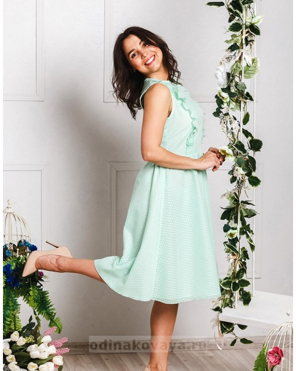 Хлопковое платье миди Ромашки М-2033 цвет мятный
